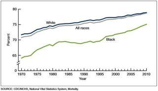 Graphique présentant les inégalités entre Blancs et Noirs aux USA