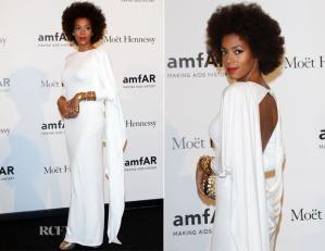 Solange Knowles cheveux naturels sur le tapis rouge au amFAR Gala 2012